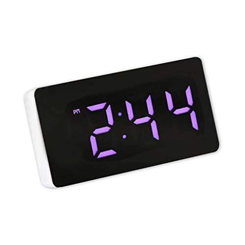 6Wcveuebuc Digital LED Espejo Electrónico Reloj Despertador Multifunción E-clock con Hora/Calendario/Alarma de Temperatura