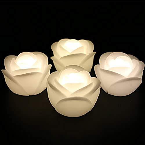 LACGO LED-Kerzen aus echtem Wachs, 7,6 cm, flammenlose, flackernde Kerzen, Aktivierung durch Kontakt mit Wasser, Lilienblüten, für Hochzeit, Zuhause, Party-Dekoration (Rose, warmweiß, 4 Stück)