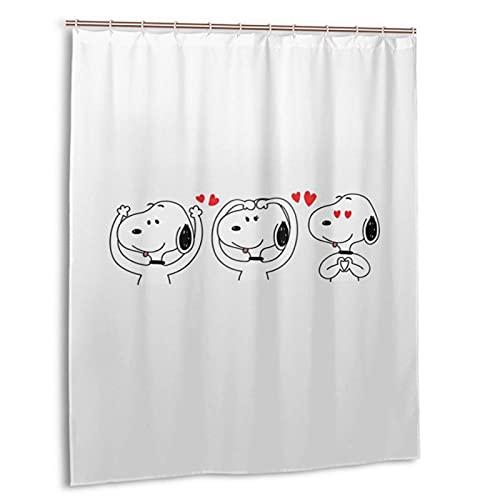 Snoopy Duschvorhang für Badezimmer, Badewanne, Druck, wasserdicht, Haken 152,4 x 182,9 cm, Kunststoff
