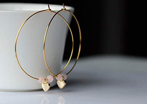 Goldfarbene Ohrringe Herz - Creole Rosenquarz/Geschenk für Sie/Edelstein Ohrringe/besonderes Geschenk/Party Creolen/Valentinstag