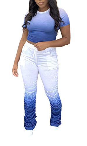 Women Gradient Stacked SweatPants Suits - Crop Tee Top and Ruched Leggings Set
