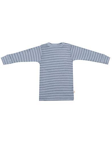Dilling Langarmshirt für Babys aus 100% Bio-Merinowolle Blau gestreift 86