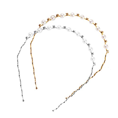 Lurrose Perle Kristall Haarband Hochzeit Elegantes Haarreif Party Haarschmuck 2 Stücke (Silber und Gold)