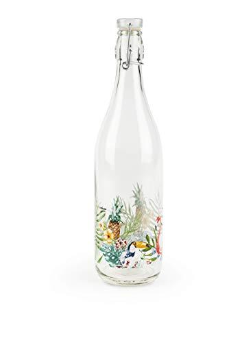 Excelsa Bottiglia, Trasparente con Decoro Tropical, Capacità: 1 litro
