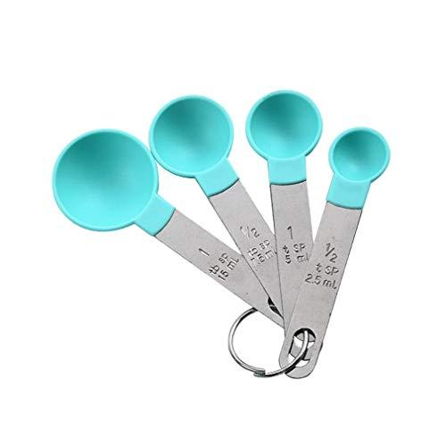 Nrew 4 pièces cuillère à mesurer en Acier Inoxydable Cuisson thé café Cuisine Balance cuillère Vert cuillère à mesurer