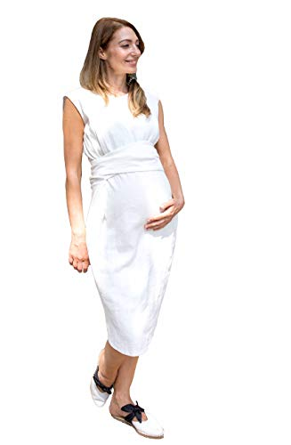 PAULA JANZ Maternity Damen Kleid Umstandskleid Raffiniertes Schwangerschafts- und Stillkleid Hochzeitskleid Brautkleid Farbe: weiß Größe: M