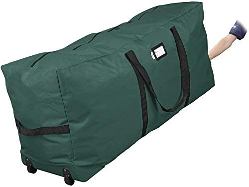 """ProPik Rolling Christmas Tree Storage Bag, Fits Up to 7.5 Ft. Tall Disassembled Tree, 22"""" H X 16"""" W X 50"""" L, Large Heavy Duty Xmas Storage Container with 2 Wheels & Handles, 600D Oxford (Green)"""