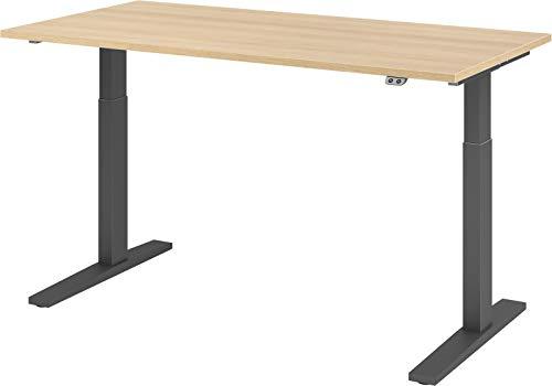 bümö® elektrischer Sitz & Steh Schreibtisch höhenverstellbar 160 x 80 cm in Eiche - Gestell in Graphit