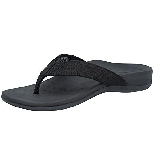 IRSOE Plantar Fasciitis Sandal Flip Flops with Arch Support Women's Orthotic Sandals - Summer Essential Sandal Outdoor & Indoor- Black 7US/38EU