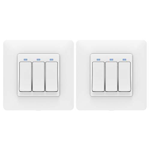 MoKo WiFi Interruptor Inteligente de Pared, [2 PZS] WiFi 3 Vía Interruptor de Luz, Control Remoto/Voz, Funciona con Alexa, SmartThings, Google Home, Atajo de Siri, Temporizador, SOLO 2.4GHz Red