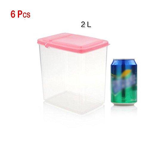 Z@SS-6x Ensemble de récipient de distributeur de boîte de rangement de cuisine de nourriture sèche de 2L en plastique avec le couvercle hermétique d'air idéal pour des pâtes de riz de céréales et plus . pink