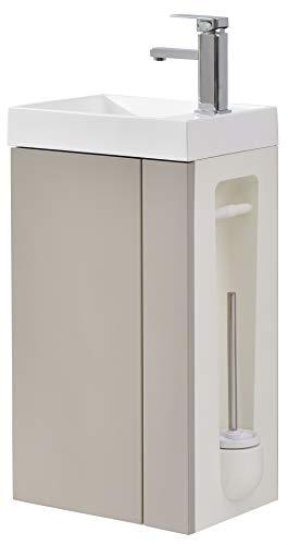 Badmöbel-Set Compact 400 für Gäste-WC - Taupe hell matt, Ablaufgarnitur/Pop-up:Ohne Ablaufgarnitur