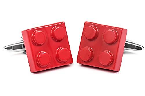 CARLO VISCONTI Nosologemelos - Manschettenknöpfe für Herrenhemd - Modell Lego - Farbe Rot - Kippverschluss - Nicht Rostend, Antiallergisch, Nickelfrei - Hergestellt aus Messing - Geschenk für Herren