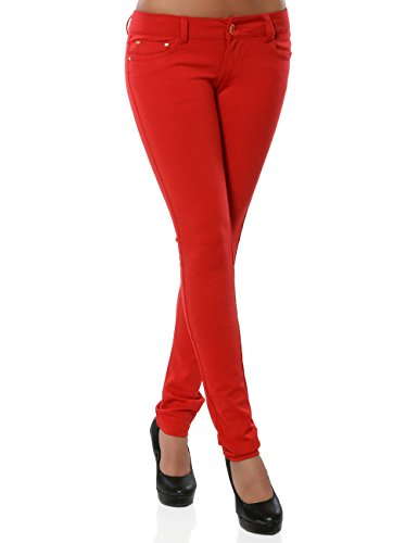Damen Hose Treggings Skinny Röhre Stretch DA 13011 Farbe Rot Größe M / 38