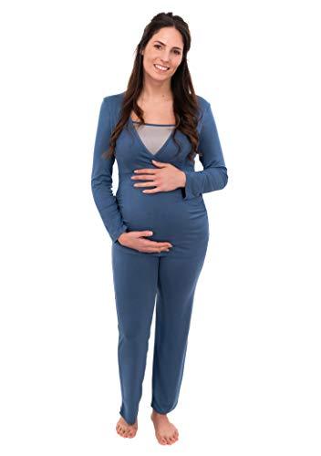 Herzmutter Stillpyjama-Umstandspyjama - Zweifarbiger Schlafanzug für Damen - Nachtwäsche für Schwangerschaft-Stillzeit - Pyjama-Set mit Stillfunktion - Lang-Langarm - 2700 (L, Blau/Hellblau)