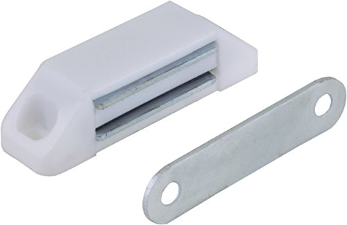 2 Stück Magnetschnäpper Möbelschnäpper Schrankschnäpper, Haltekraft 5-6 kg, Kunststoff weiss mit Metallgegenplatte 58 x 16mm