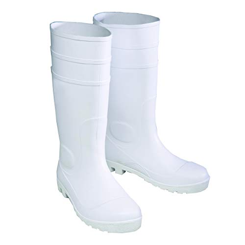 West Chester 8325 PVC Boot - White, Size 9 Work Boots with Textured Sole, Wider Tread, PVC Toe and Heel