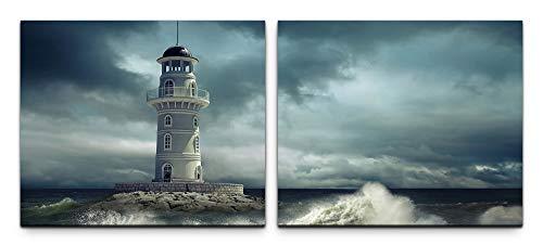 SIN-US 74 Leuchtturm im Meer Bild Leinwand fertig auf Rahmen 2 Bilder a 50x60cm