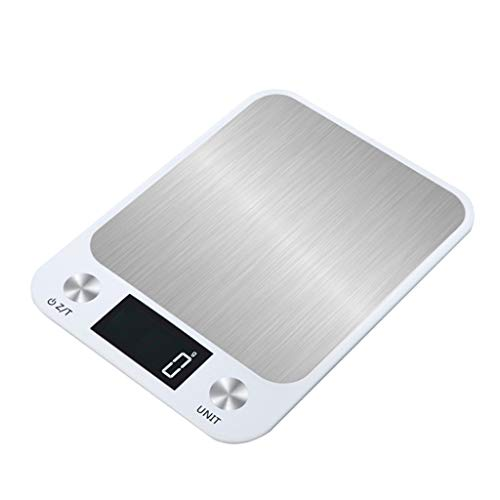 Flat Stainless Steel Kitchen Scale, Ideaal For Koken, Braden, Wegen Mail En Het Bereiden Van Koffie Elektronische Schaal Van Het Platform (Color : White, Size : 10kg/1g)