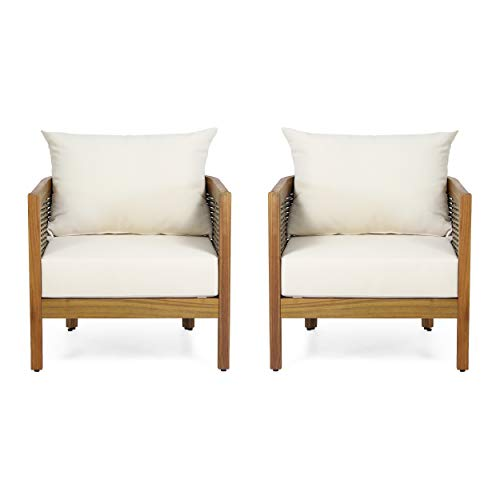 Burchett Outdoor Club Chair with Cushion - Acacia Wood and Wicker - Teak/Mixed Brown/Beige (Set of 2)