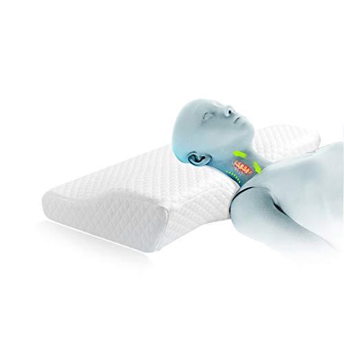 ERWRFSV Almohada ortopédica del Cuello de la Espuma de la Memoria Almohada Especial para la reparación de la Almohada del Cuello de la Espuma de la Memoria White 60x35x12-8cm