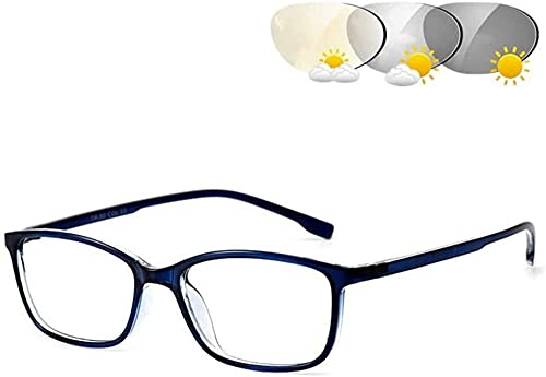 PhotoChromic Lectura Gafas Anti deslumbramiento Straight Straight Lightweight Marco Completo Hombres y Mujeres UV400 Sunglasses Readers Presbicia Spectacles-Azul_1.5 Excellent