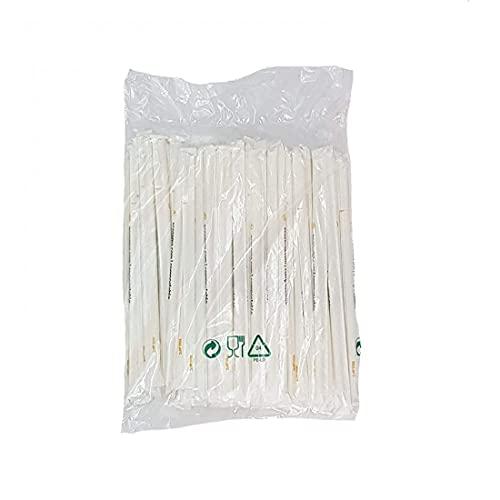 Cannucce biodegradabili imbustate singolarmente - 1000 pz - bianche