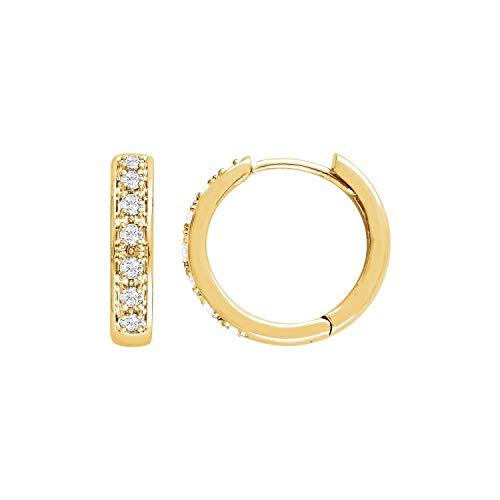 Pendientes de oro amarillo de 14 quilates, diamantes de 1/3 CTW, joyería fina para mujer