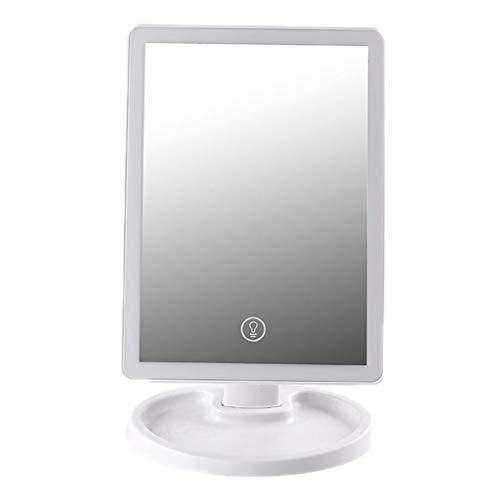 YYF Porter Miroir de Maquillage à LED Miroir de Maquillage avec lumière Miroir de Chargement à écran Tactile Pliable à comptoir de Bureau LED Facile (Color : White)