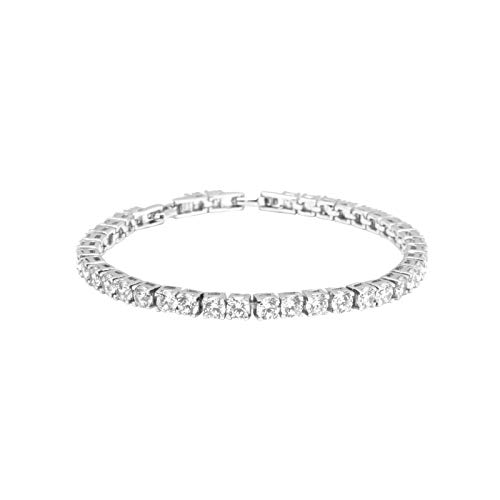 House of Meèsse Women's Classic Tennis Bracelet, 7 inches with 4mm Round Gemstones, Rhodium Plated and AAAAA Cubic Zirconia Stones, Comes with an Elegant Gift Box