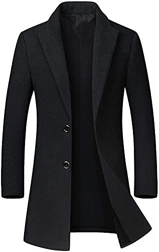 chouyatou Men's Mid-Length Single Breasted Wool Blend Top Coat (Medium, Black)