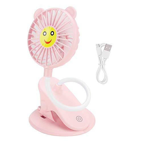 Mini Fan, Adjustable Three-Tier Desktop Fan with Computer/Desk Clip, Portable Rechargeable Fan for Home and Office Use Best Gift(Rose)