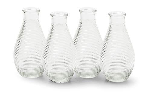 MIK Funshopping Dekoflaschen Vase Fläschchen aus Glas modern Decor 14 x 7 cm (Klar nur Streifen, 4)