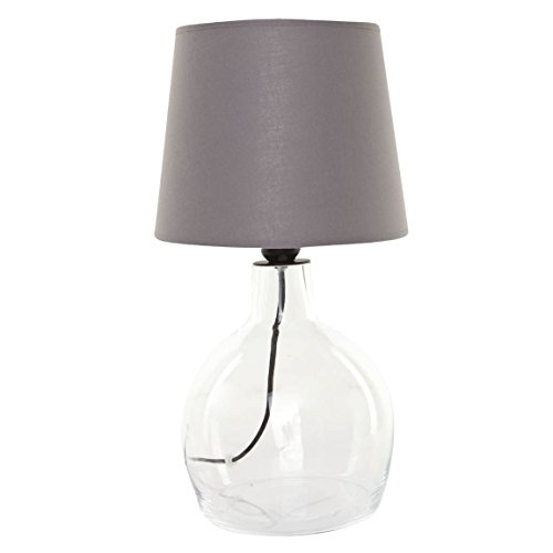 Signature Home Collection CO-104-OS+CO-SI-A103 Lampe de table en verre avec abat-jour en tissu Transparent (pied)/gris (abat-jour) 24 x 24 x 42 cm