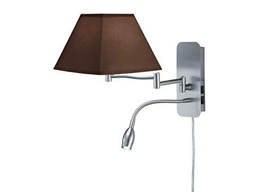 Klassieke LED wandlamp met hoekige stoffen kap in bruin - zwenkarm en LED leeslamp - nikkel mat met E14 fitting - tijdloze elegante wandverlichting