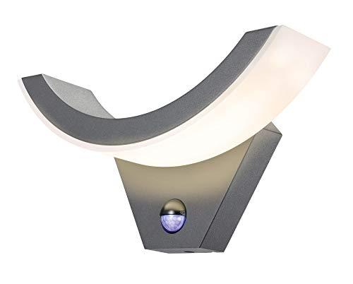 Moderne LED Sensor Außenwandleuchte Lichtfarbe warmweiß 2800K, Leistung 9 Watt 550 lm, Einstellbarer Bewegungsmelder max. 9m Reichweite, (B x H x T): 29,5 x 14,5 x 9 cm, Außen Wandlampe 201505