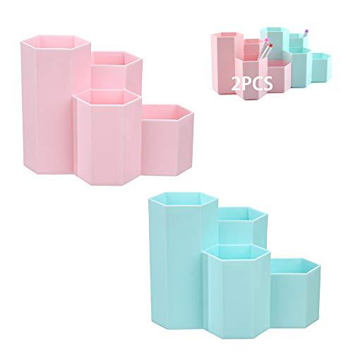 2 PCS Portalápices Hexagonal Creativo,Portalápices Hexagonal de Plástico,Organizador de Escritorio para Niños ,Soporte para Organizador de Bolígrafos,Organizador Pluma