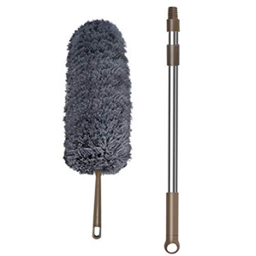 Colector de polvo limpio, colector de polvo de microfibra, retráctil, ajustable, lavable, con varilla retráctil de 110 cm, adecuado para persianas de ventana