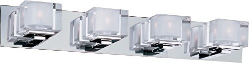 Maxim 10004CLPC Cubic 4-Light Bath Vanity, Polished Chrome Finish, Clear Glass, G9 Xenon Xenon Bulb , 100W Max., Wet Safety Rating, Standard Dimmable, Glass Shade Material, 1150 Rated Lumens