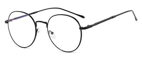 Blaulichtfilter Brille Computerbrille Metall Frame Retro Dekobrille Klassisches Rund Rahmen Glasses Brillen Computer Gaming Brillen Anti Müdigkeit Lesebrille für Herren Damen