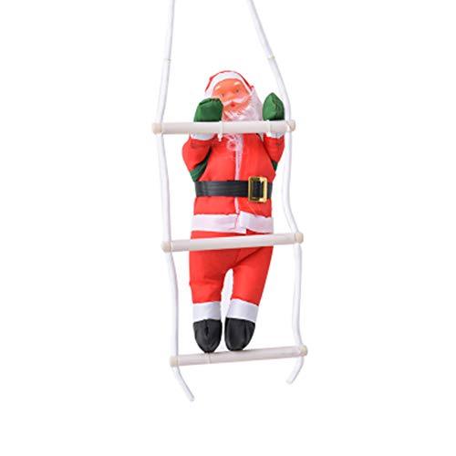 JingYuan Ornamenti di Natale Decorazione, Natale Babbo Natale Che arrampica sulla Scala di Corda per Xmas Party Natale Home Porta Decorazione a Parete