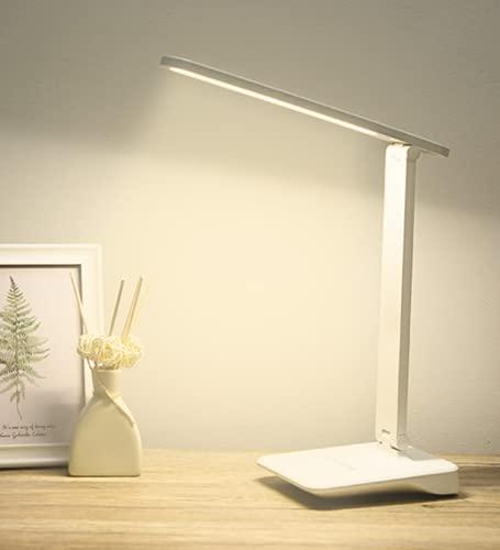 Zi Yang LED Protección para los Ojos Lámpara de Escritorio Regulable Operación táctil conexión USB niños estudiar Oficina Lámpara de Mesa Luz para Leer Luz de Trabajo Lámpara de Noche,Blanco