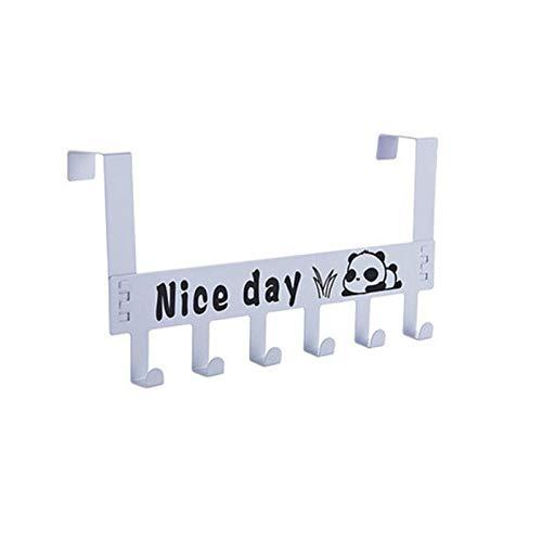 MIGUOR Perchero de Pared blanco Perchero detrás de la puerta con 6 ganchos para dormitorio baño oficina 36×17.5×6.3CM Acero carbono