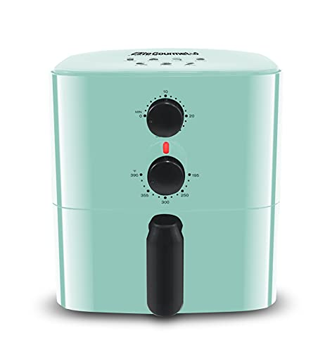 Maxi-Matic Elite Gourmet Personal Compact Space Saving Electric Hot Air Fryer Oil-Less Healthy Cooker, Timer & Temperature Controls, PFOA/PTFE Free, 700-Watts with Recipes, 1 Quart, Mint