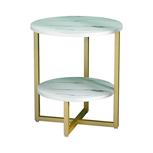 A-Yan-Q-Home Office Furniture Small Round Table On The Balcony, Artificial Marble Finish Double Side Table for Florists Cafe Hotel Sofa Side Coffee Table Pedestal Tables
