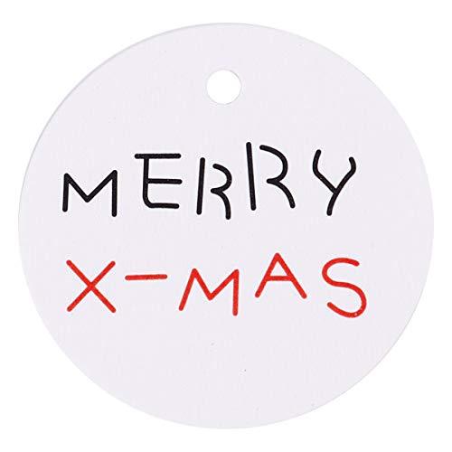 Amosfun 200Pcs Weihnachtsgeschenkanhänger Papieretikettenanhänger mit Weihnachtsbaumentwurf Hängenden Anhänger Hängende Dekoration für Weihnachtsbackkeksbonbon Behandelt Taschenboxen