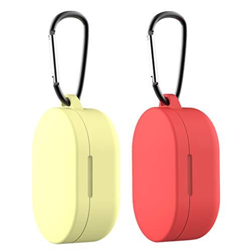 Yoowei [2-Pack Funda Compatible con Xiaomi Mi Airdots TWS Protective Sleeve, Protectora de Silicona Líquida con Gancho de Alpinismo(Rojo & Amarillo)