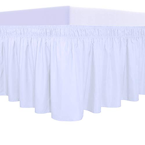 PureFit Wrap Around Ruffled Bed Skirt with Adjustable Elastic Belt - 14 Inch Drop Easy to Put On, Wrinkle Free Bedskirt Dust Ruffles, Bed Frame Cover for Queen, King and C-King Size Beds, White