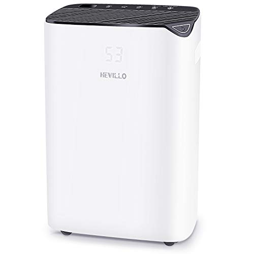 HEVILLO 2000 Sq. Ft Dehumidifier for Home Basements Bedroom Garage, with Continuous Drain Hose and Wheel, 0.66 Gallon Water Tank Capacity, Intelligent Humidity Control (Black)