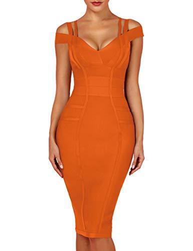whoinshop Women's Off Shoulder Strappy Open Back Midi Bodycon Cocktail Bandage Dress Orange M
